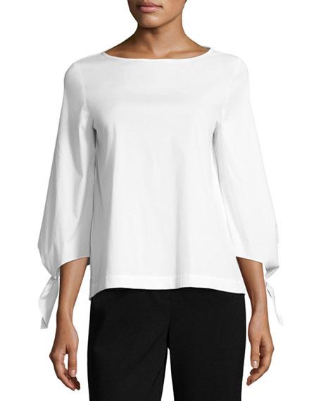 Lafayette 148 New York Elaina Tie-Sleeve Stretch-Cotton Blouse
