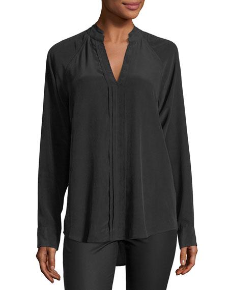 Equipment Liana Long-Sleeve Pleated-Front Silk Blouse