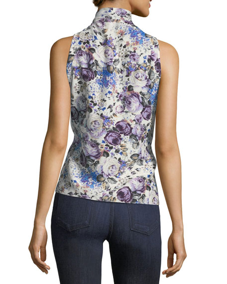 Tribeca Tie-Neck Sleeveless Floral-Print Silk Top