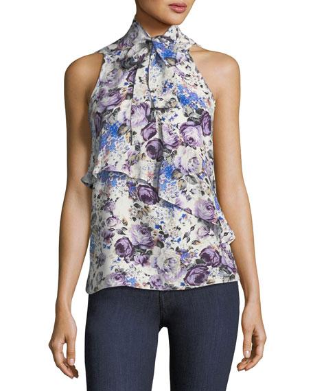 Tribeca Tie-Neck Sleeveless Floral-Print Silk Top