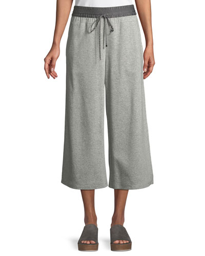 Charmeuse-Waist Cropped Pants