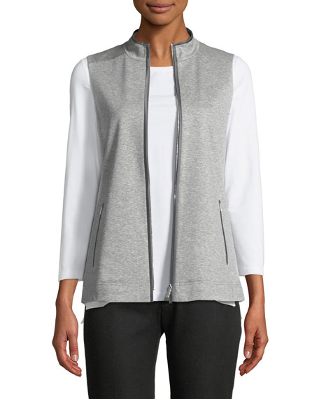 Charmeuse-Trim Zip-Front Vest