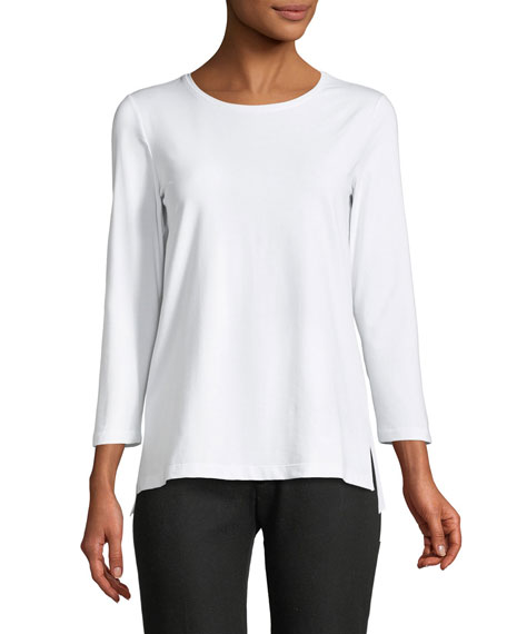 Lafayette 148 New York 3/4-Sleeve Dropped-Hem T-Shirt