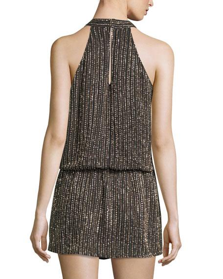 Carlotta Sleeveless Halter Embellished Short Dress