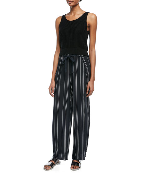 Striped Wide-Leg Pants w/ Tie Front