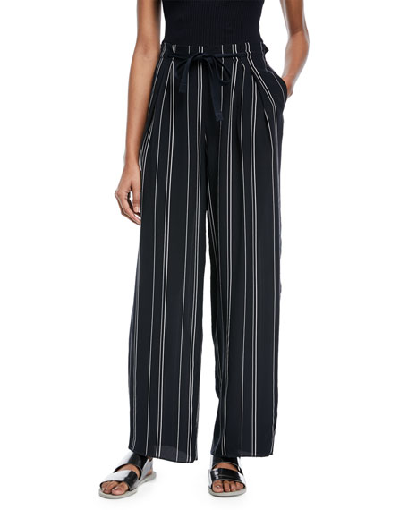 Vince Striped Wide-Leg Pants w/ Tie Front