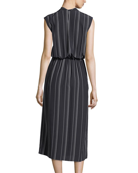 Multi-Stripe Silk Cross-Front Dress