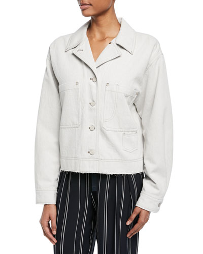 Cropped Button-Front Utility Jacket