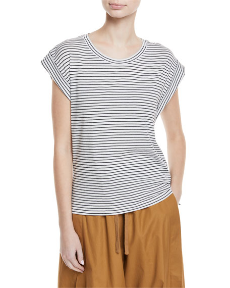 Vince Classic Stripe Cotton Tee w/ Rolled Sleeves