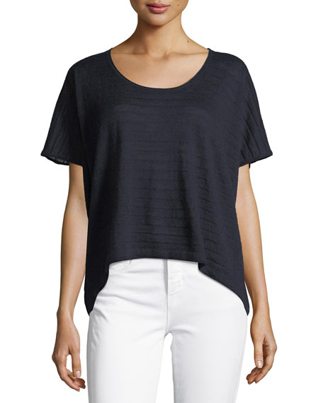 Textured Stripe Wool-Cashmere Top