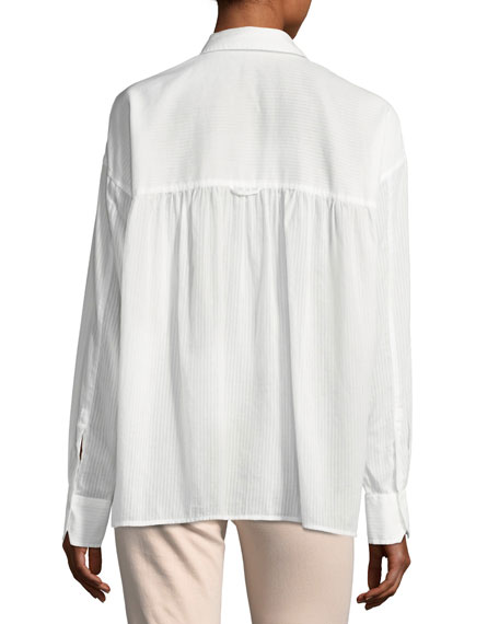 Textured Double-Placket Blouse