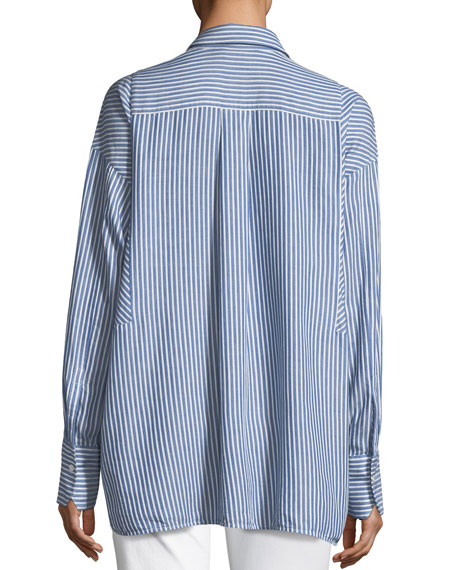 Classic Stripe Long-Sleeve Tunic Shirt