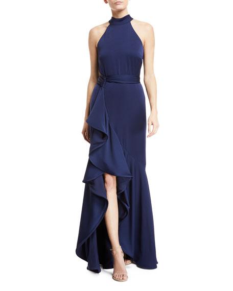 Shoshanna Kaori Ruffle-Slit Sleeveless Gown
