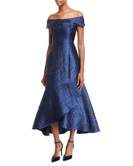 Trinity Metallic Jacquard Asymmetric Gown