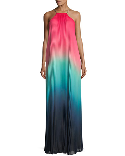 Sunset Ombrè Pleated Maxi Dress