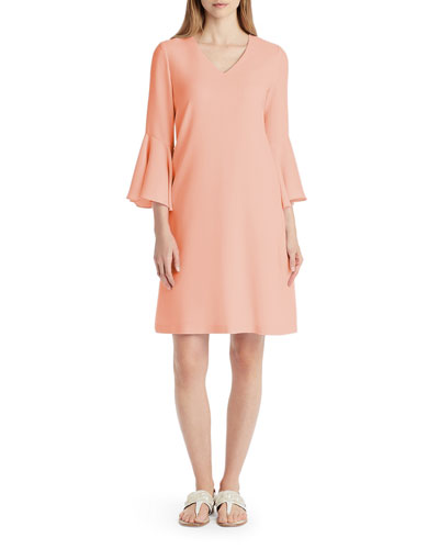 Holly Ruffle-Cuff Crepe Shift Dress