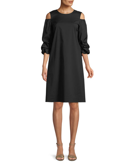 Lafayette 148 New York Willa Stretch-Cotton Ruffled-Sleeve Dress