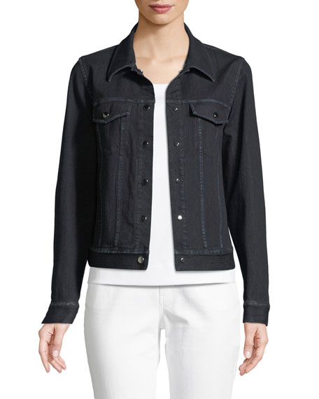Lafayette 148 New York Destiny Prestige Denim Snap-Front