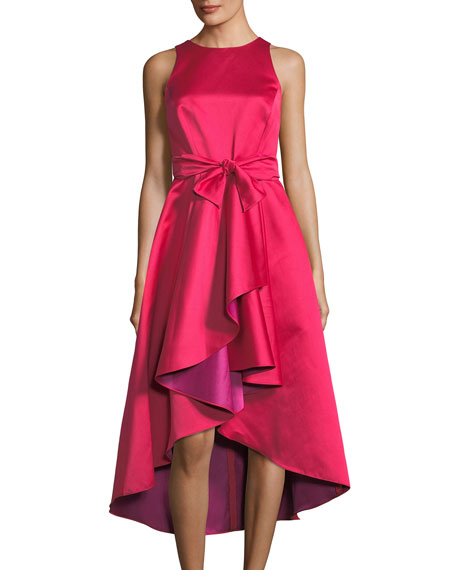 Two-Tone Taffeta Ruffle Midi Dress