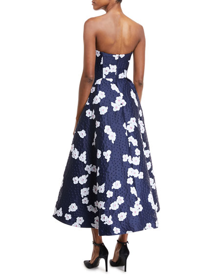 Paladino Floral Brocade High-Low Cocktail Dress