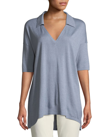 Lafayette 148 New York Cashmere-Blend Relaxed Modern-Fit Polo