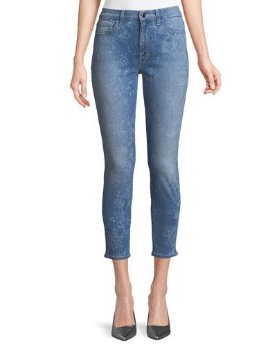 Laser Botanical-Print Skinny Ankle Jeans