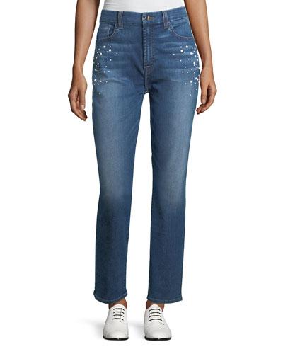 Pearl-Embellished Crop Jeans, Garden City