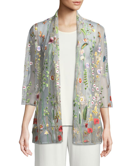 Garden Walk Embroidered Mesh Cardigan, Petite