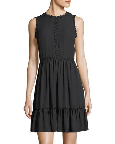 floral lace trim sleeveless mini dress