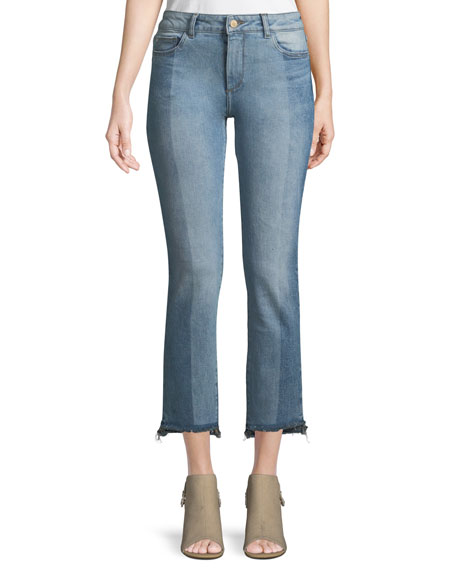 DL1961 Premium Denim Maria Instasculpt Two-Tone Straight-Leg