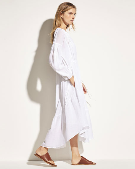 Shirred Seamed Cotton Midi Dress