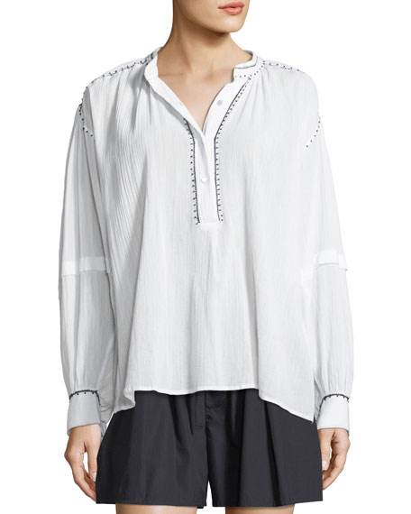 Long-Sleeve Contrast Stitch Poet Blouse