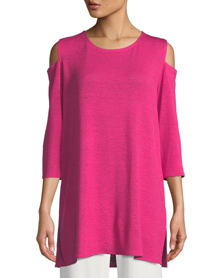 Caroline Rose Gauze Knit Cold-Shoulder Tunic, Petite