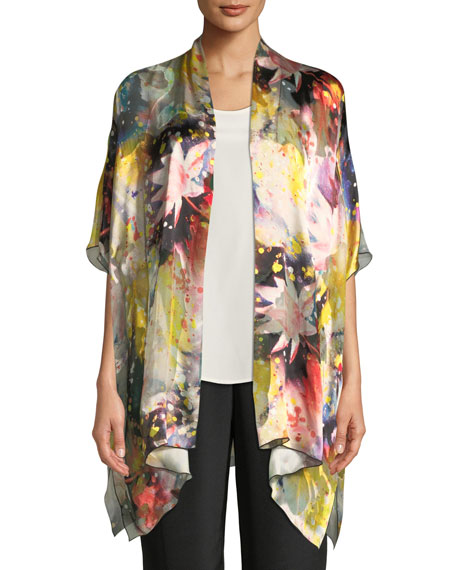 Caroline Rose Wild Flower Silk-Blend One-Size Caftan Cardigan