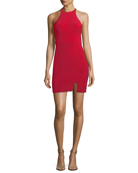 Faviana Halter-Neck Cutout-Back Mini Cocktail Dress