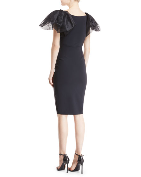 Firoenza Organza-Sleeve Sheath Dress