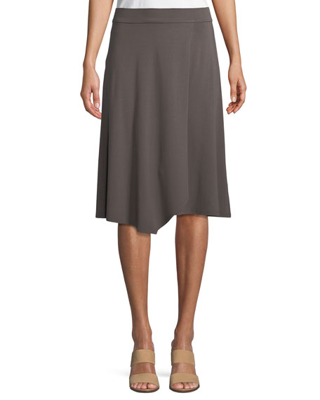 Eileen Fisher Knee-Length Jersey Faux-Wrap Skirt, Petite