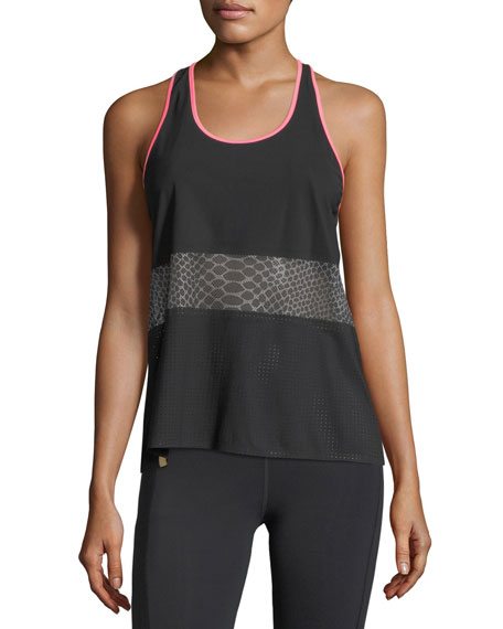 Monreal London Scoop-Neck Racerback Mesh Tank and Matching