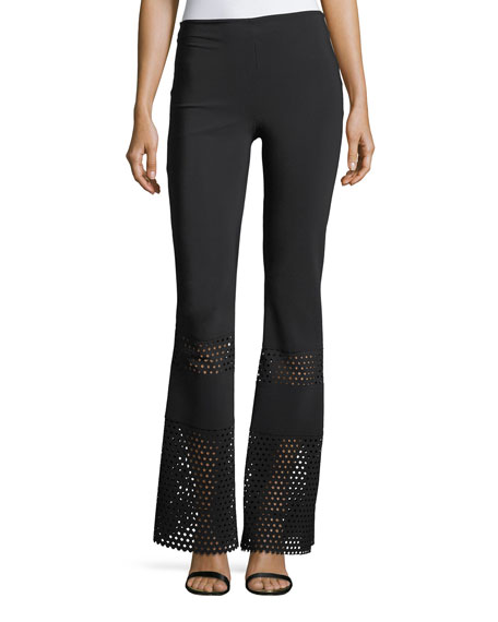 Omisha Eyelet Flared Pants