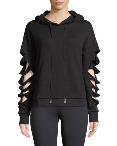 Slay Slashed Long-Sleeve Hoodie Sweatshirt