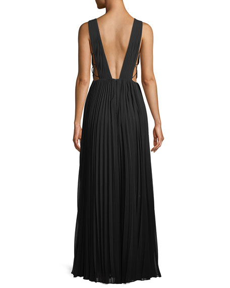 Allegra Pleated Plunging V-Neck Evening Gown