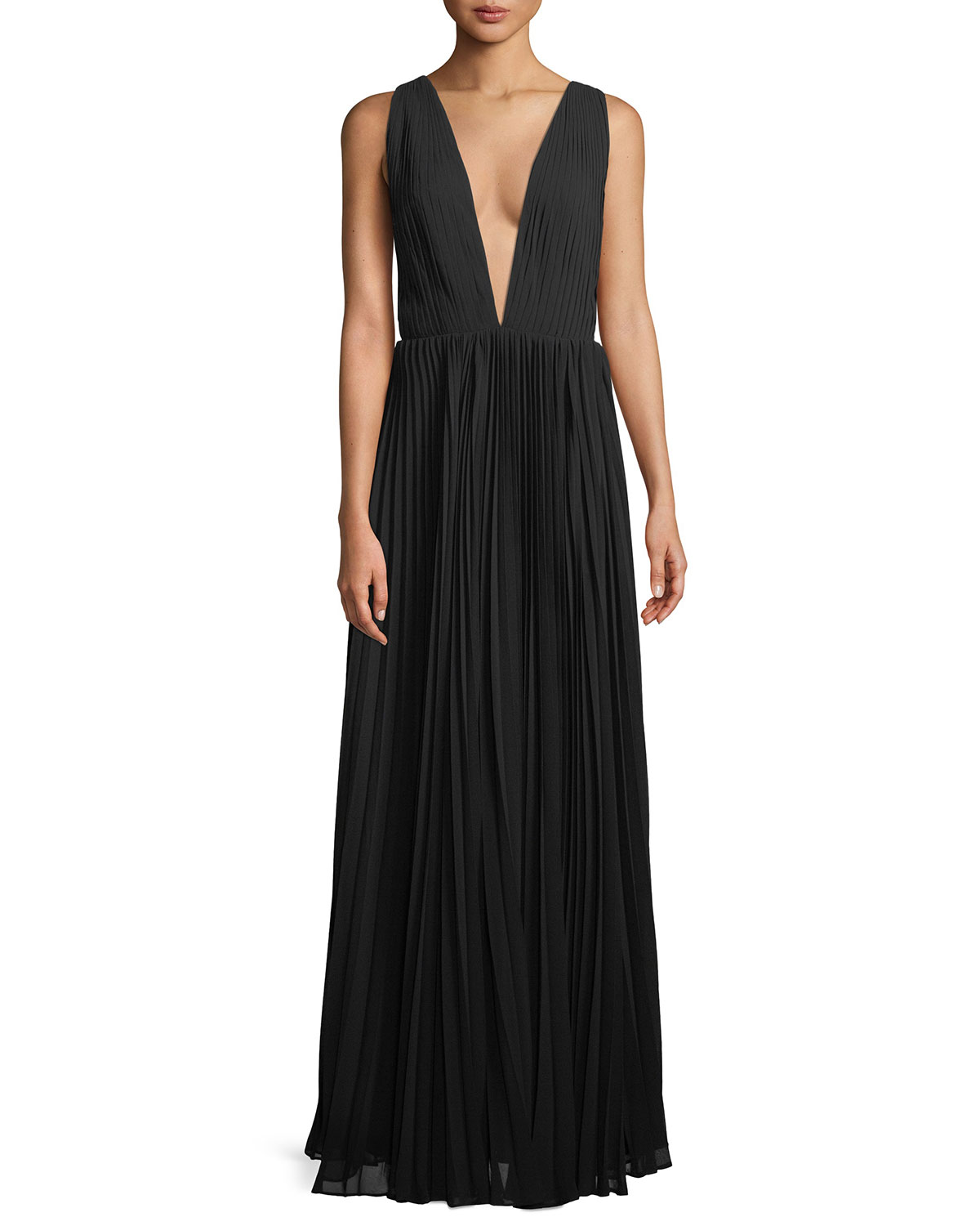 Fame and Partners Allegra Pleated Plunging V-Neck Evening Gown ...