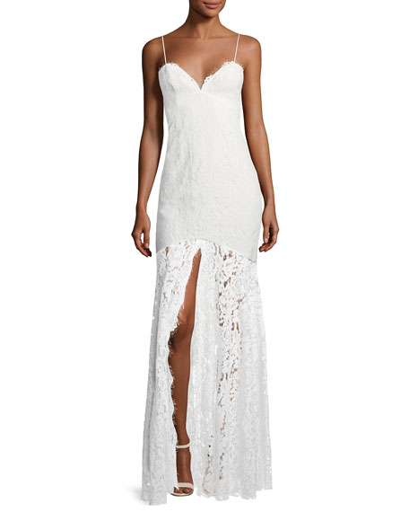 Fame and Partners Babe Lace Front-Slit Sleeveless Dress