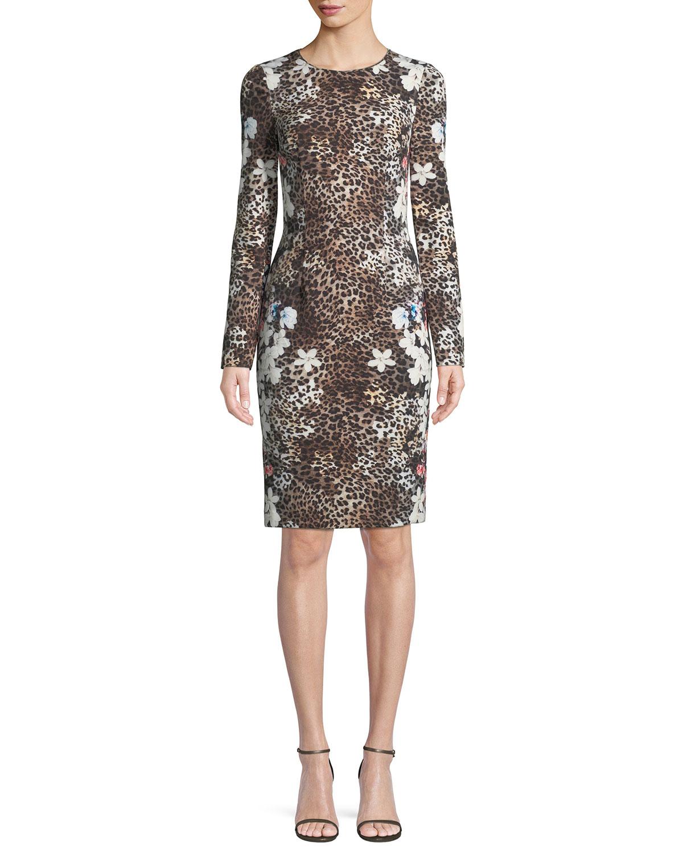 1a7872bdf5 Quick Look. Black Halo · Erika Animal-Print Long-Sleeve Dress