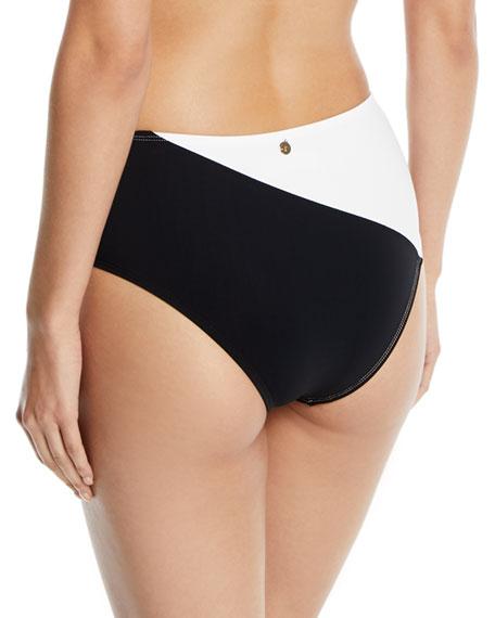 High-Waist Paneled Cheeky Bikini Bottoms