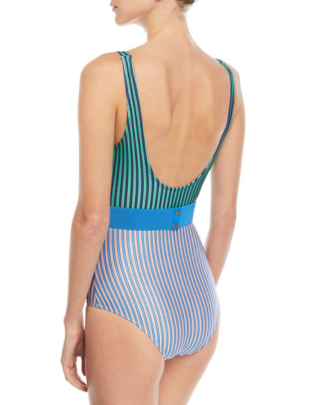 Scoop-Neck Belted Striped Classic One-Piece Swimsuit