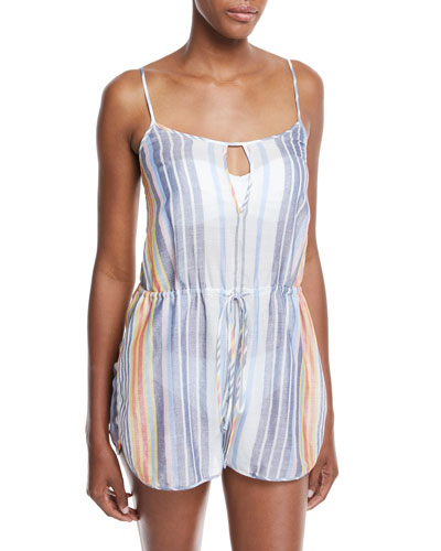 Keyhole Sleeveless Striped Cotton-Silk Romper