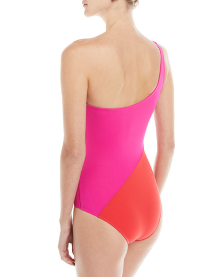 O-Ring One-Shoulder Colorblocked One-Piece Swimsuit