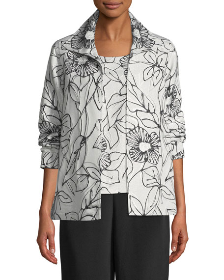 Caroline Rose Frivolous Floral A-line Topper Jacket, Plus
