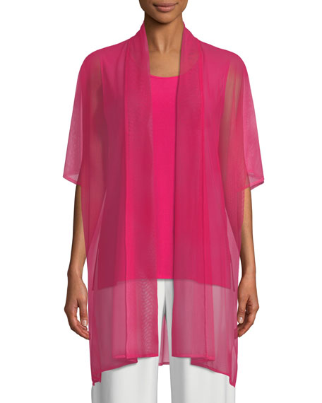 Caroline Rose Illusion Mesh Caftan Cardigan, Plus Size